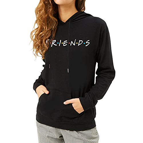 ZSIIBO Women's Friends Prints Letter Hoodie Teens Cute Casual Sweatshirt Tops WY05 (M, Black)