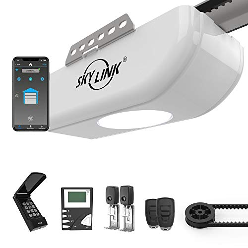 Skylink ATR-1723BKW 3/4 HPF Garage Door Opener Featuring Alexa with Extremely Quiet DC Motor, Belt Drive, Built-in LED Light, Premium LCD Wall Console, Wireless Keypad and WiFi Compatible