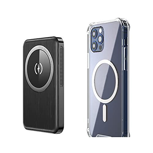 SUYING Banco magnético de 15 W, inalámbrico, 10000 mAh, cargador rápido de 20 W, batería externa, compatible con iPhone 12/12 Mini/Pro/Max (10000 mAh, negro para 12 Pro Max)