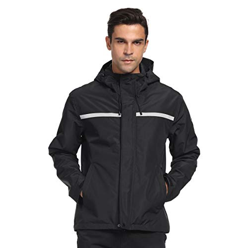Freetrack Men's Hooded Rain Jacket Waterproof Windbreaker Outdoor Raincoat for Golf Cycling Fishing Hiking Camping (Black,l)