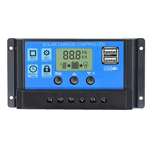 30A Solar Charge Controller, Solar Panel Charge Controller 12V 24V Dual USB Charge Regulator Intelligent, Adjustable Parameter Backlight LCD Display and Timer Setting ON/Off Hours (30A)