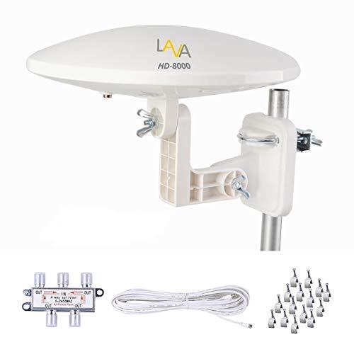 TV Antenna, LAVA HD-8000 Omnidirectional TV Antenna, Amplified Digital 4K HDTV, 360 Degree Reception, Motorhome & RV& Camper, for 4 TVs, 40ft Cacle