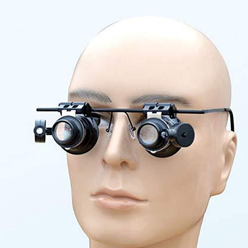 FYYONG Relojero Nueva Estructura de Metal 20 con la luz de la Lupa Binocular Lupa de Aumento Ojo de reparación de joyería Lente de LED