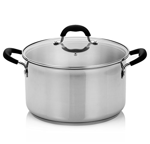 Finnhomy Approved AISI304 (18-10) Stainless Steel 8-Quart Stock Pot with Cover, 3 Layers Base,Induction Base Safe, Metallic