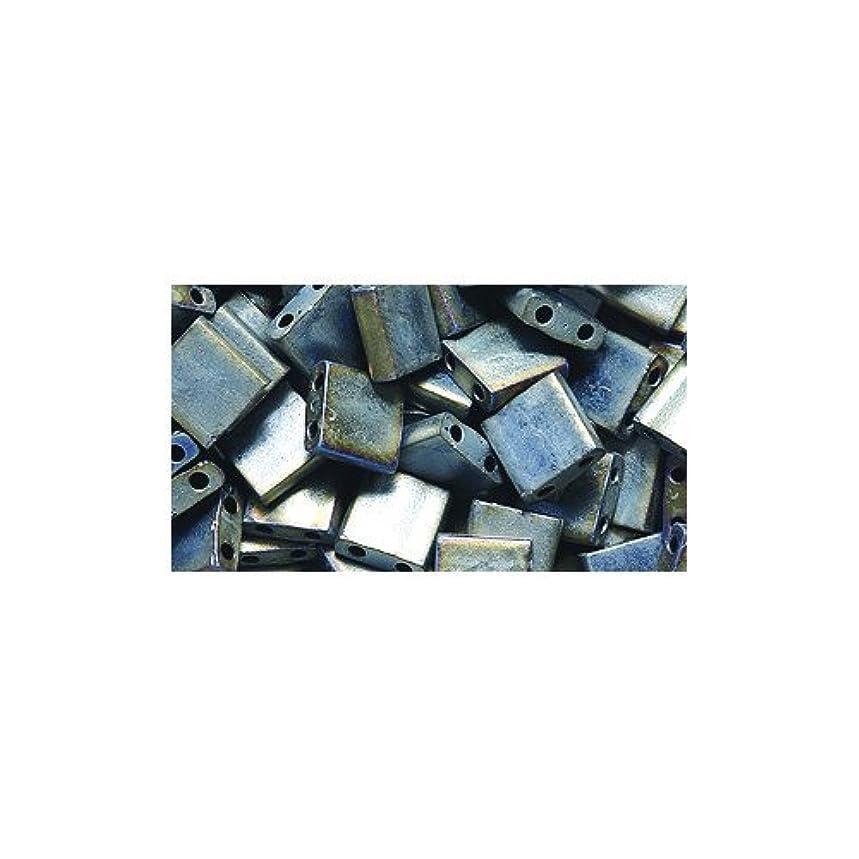 Shipwreck Beads Miyuki Tila Square Two Hole Bead, 5mm, Metallic Silver Gray Matte
