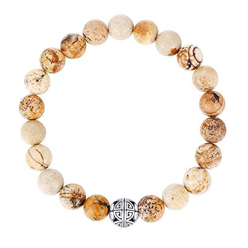 Natürliche 8 mm Edelsteine MetJakt Heilung Crystal Stretch Perlen Armband Armreif mit 925 Sterling Silber Double Happiness Anhänger (Picasso Jaspis)