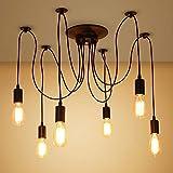 Industrial Edison 8 luces Semi rasante luz de techo Vintage hierro forjado gran lámpara de techo lámpara negra