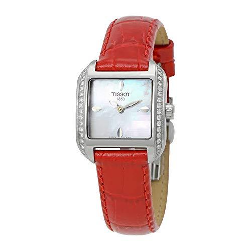 Tissot T02.1.365.71 - Reloj de Cuarzo para Mujer, con Correa de Cuero, Color Rojo