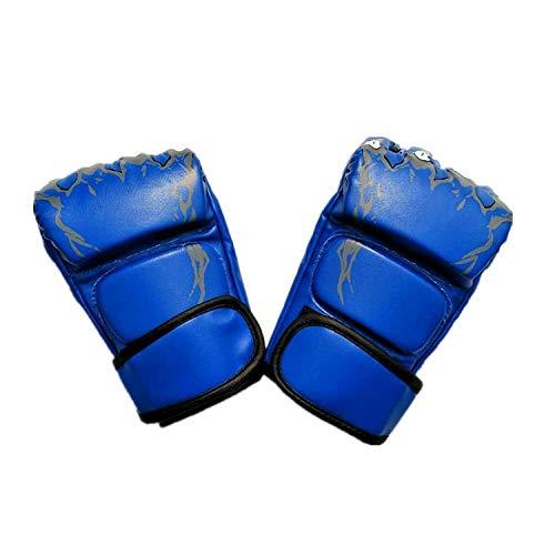 Punkte Zu Boxhandschuhen Kampf Gegen Sanda Ghost Shadow Tiger Claw Handschuhe Half Finger Vertical Fighting Gloves, Blue
