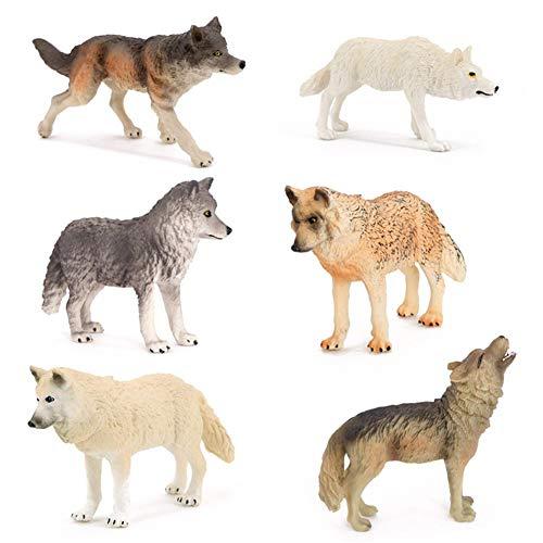 mildily Wolf Figuren , 6pcs Wolf Figuren Set Wolf Figuren Ornamente Wolf Figur Spielzeug