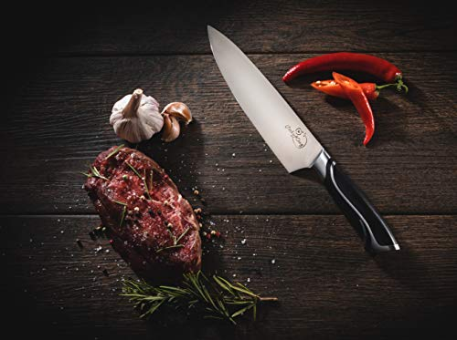 Cooky King Chef Knife 8 inch - PROFESSIONAL Cooking Knife-Ultra Sharp Blade + Finger Protector- High Carbon Stainless Steel Kitchen Sushi Knife - Great Ergonomic Handle - 2 Free E-book's & Gift Box