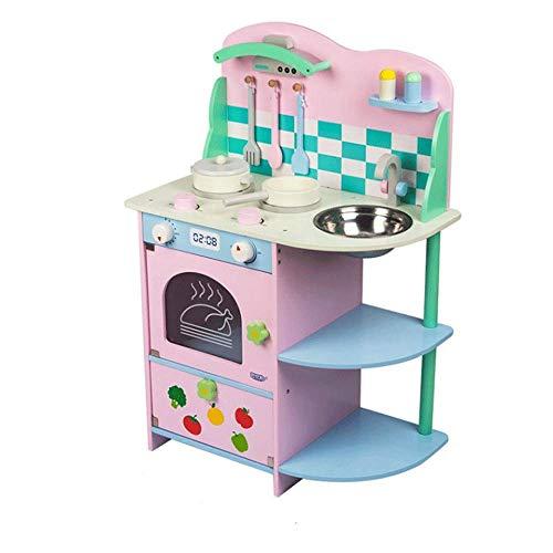 PETRLOY Kids Simulation Kitchen Set Pretend Play Chef Kochspiel Miniatur Essen Mini Kochgeschirr Spielzeug mit Dunstabzugshaube , Gasherd, Kinder