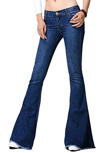 CHARTOU Women's Asymmetric Tassel Flared Slit Ripped Jeans Denim Pants (Medium, Navy Blue)