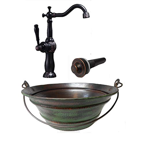 Lowest Prices! 15 Round Vintage Look Copper Bucket Vessel Sink with GREEN Patina with LT Drain and ...