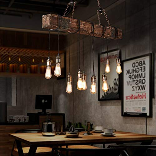 10-Lights Chandelier Wooden Retro Rustic Pendant Light - Industrial Suspension Light line can be Adjusted Freely - Distressed Wood Chandelier for Dining Table Vintage Kitchen, Bar, Island, Billiard.