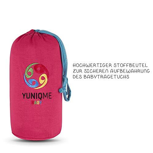 YUNIQME® Harmonie Babytragetuch – sehr weiche 100% Baumwolle – elastisches Tragetuch – Baby Tragetuch für Neugeborene mit bestem Tragegefühl – OEKO TEX – verschiedene Trendfarben - 2