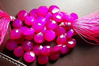 Jewel Beads Natural Beautiful jewellery 4 Inch Strand -Hot Pink Chalcedony Faceted Heart Briolettes Size 11mm ApproxCode:- JBB-31681