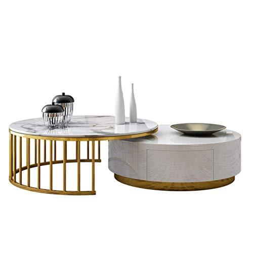 Living Equipment Juego de mesa de centro redonda Tablero de mármol y madera Marco de hierro forjado de metal Cajón Invisiblearge Elegante Minimalista Adecuado para la decoración moderna de la sala