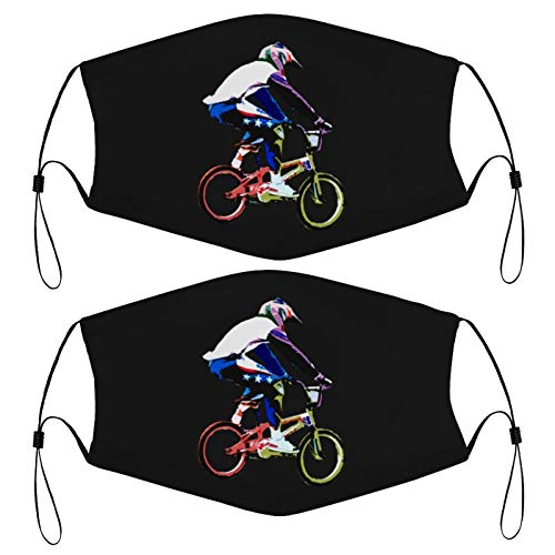 Bicycle Motocross BMX Racing Kids Face Mask Set of 2 with 4 Filters Washable Reusable Adjustable Black Cloth Bandanas Scarf Neck Gaiters for Adult Men Women Fashion Designs
