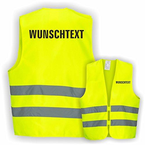 Warnweste GELB Sicherheitsweste Weste Ordner Security Crew (Text nach Wunsch 1 Zeilig 1 Weste)