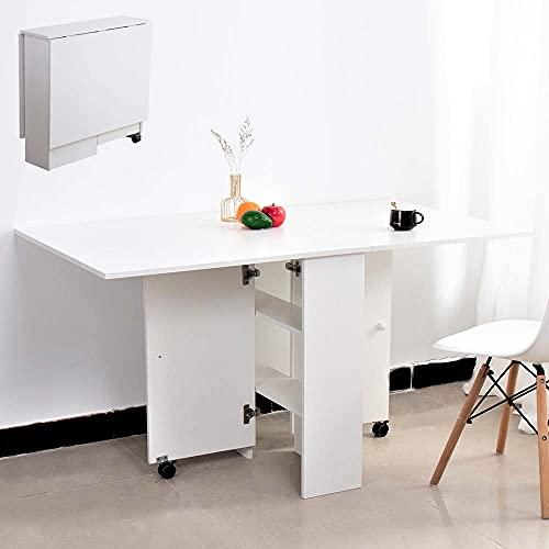 BAKAJI Tavolo da Pranzo Scrivania Multiuso Pieghevole Richiudibile Allungabile con Libreria 2 Scomparti Ripiani a Scomparsa e Ruote in Legno MDF Design Moderno 140 x 80 x 74 cm (Bianco)