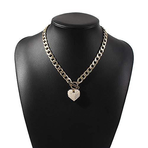 Collares Colgante Joyas Colgante De Corazón De Perlas De Imitación En El Collar De Cadena Mujeres Niñas Accesorios para El Cuello Joyería para Parejas Decoración-Gold_Color