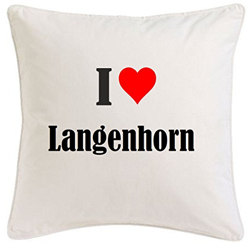 Kissenbezug I Love Langenhorn 40cmx40cm aus Mikrofaser geschmackvolle Dekoration für jedes Wohnzimmer oder Schlafzimmer in Weiß mit Reißverschluss