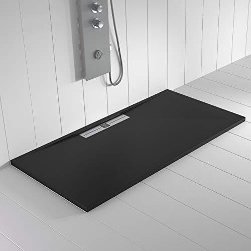 Shower Online Plato de ducha Resina WIDE - 90x190 - Textura Pizarra - Antideslizante - Todas las medidas disponibles - Incluye Rejilla Inox y Sifón - Negro RAL 9005