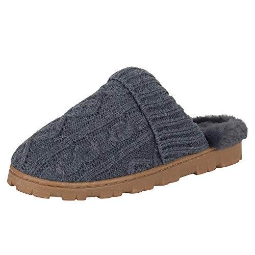 Jessica Simpson Women's Soft Cable Knit Slippers with Indoor/Outdoor Sole, Charcoal, Medium