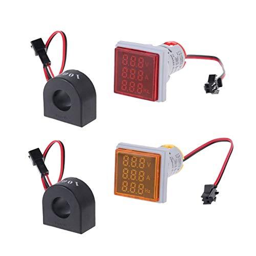 oshhni Medidores de Voltaje de Corriente Digital de Pantalla Dual LED Hertz 2pcs