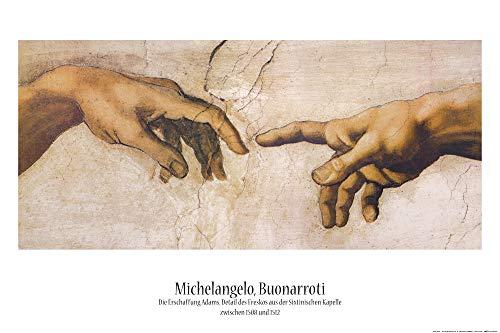 1art1 Michelangelo Buonarroti - Die Erschaffung Adams, Detail, 1508-1512 Poster 91 x 61 cm