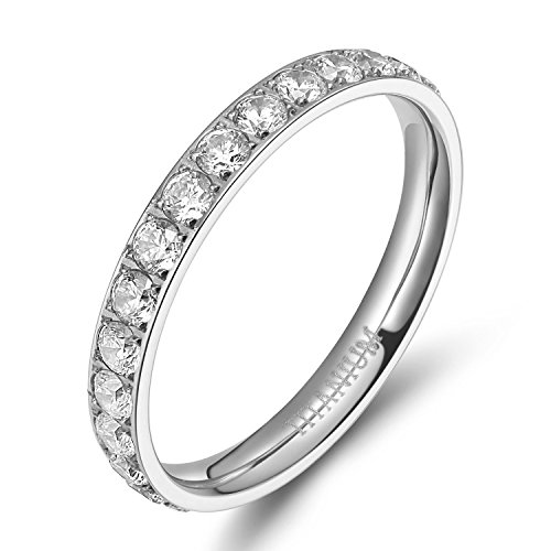 TIGRADE 3mm Women Titanium Engagement Ring Cubic Zirconia Eternity Wedding Band Size 3 to 13.5, Silver, Size 6.5