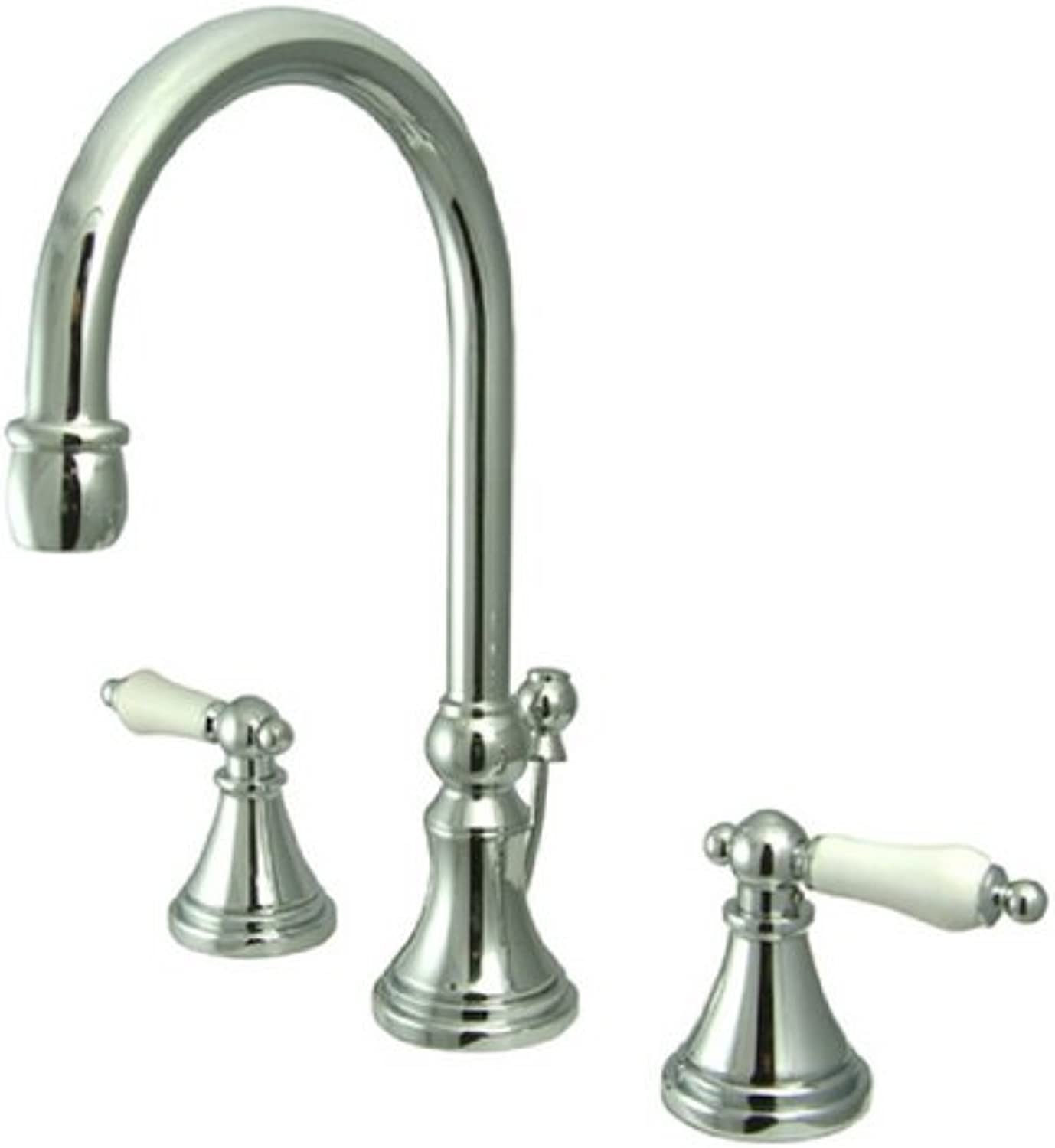 Kingston Messing ks2981pl Gouverneur breitgefchert WC Wasserhahn mit Messing Pop-Up und Porzellan Hebel HA