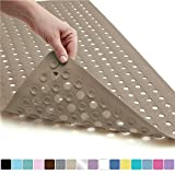 Gorilla Grip Original Patented Bath, Shower, Tub Mat, 35x16, Washable, Antibacterial, BPA, Latex, Phthalate Free, Bathtub Mats with Drain Holes, Suction Cups, XL Size Bathroom Mats, Beige Opaque