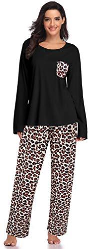 SHEKINI Damen Plaid Langärmeliger Zweiteiliger Schlafanzug Pyjamaoberteil mit Taschen Rund Ausschnitt Nachthemd Große Größen Leopard Sleepwear (XL, Schwarz)