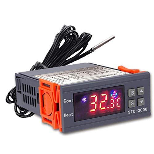 Exanko Termostato Digital de Alta PrecisióN STC-3000 para Controlador de Temperatura de Incubadora Termorregulador CalefaccióN RefrigeracióN 220 V