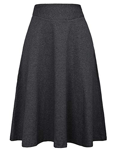 Kate Kasin Casual Skirts Below The Knee Length for Women Plus Size(3XL,Deep Grey)