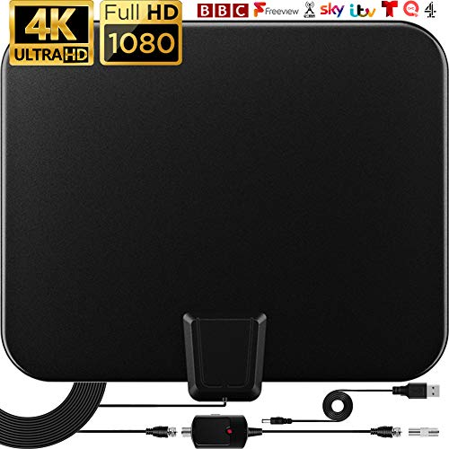 Indoor TV Aerial 120 Miles Freeview Indoor TV Aerial with Amplifier Signal Booster,2021 Newest Digital TV Aerial 4K 1080P Ultra HD VHF UHF & 9.8FT Coax Cable & USB Power Adapter
