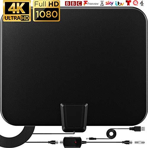 Indoor-TV-Antenne 120 km Digital TV-Antenne mit Verstärkersignalverstärker 4K 1080p VHF UHF und 9,8FT Koaxialkabel und USB-Netzteil TV-Antenne-2020 Neu