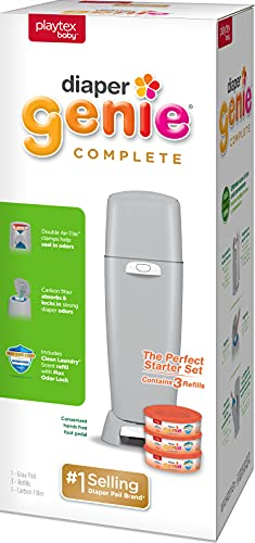 Diaper Genie Playtex Complete Diaper Pail, with Built-in Odor Controlling Antimicrobial, Includes 1 Pail and 3 Max Fresh Refills, Grey (10078300115998), Laundry