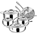 Duxtop Whole-Clad Tri-Ply Stainless Steel Induction Cookware Set, 10PC Kitchen Pots and Pans