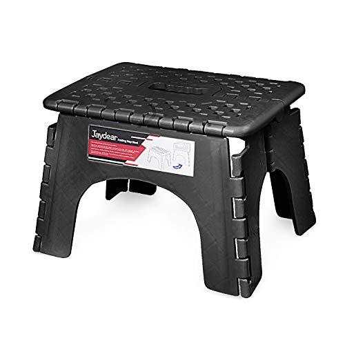 Jaydear Folding Step Stool,Foldable Step Stool for Kids or Adult Safe Kitchen Portable Stepping Stools Lightweight Footstool Non Slip Super Sturdy Folding Stool (Black, 8 inch)