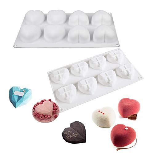 3D Corazón Forma Silicona Molde,Xiuyer 2pcs 8 Cavity Antiadherente Durable Postre Hornear Molde Para Navidad Decorar Pasteles Dulces Chocolate Cubitos Hielo Blanco