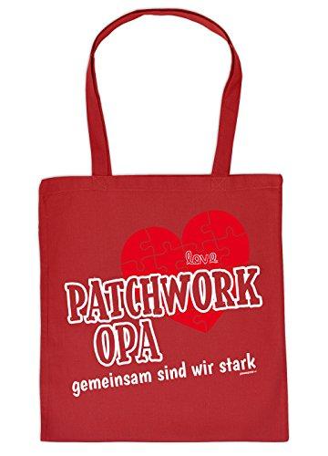 Opa Geschenk Tasche - Sprüche Baumwolltasche : Patchwork Opa gemeinsam - Einkaufstasche Geschenktasche Großvater + Urkunde Farbe: Rot