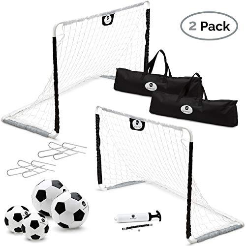 Morvat Soccer Goal Set for Backyard, Outdoor Toys Soccer Net, Soccer Goals for Backyard, Soccer Accessories, Pop Up Soccer Goals, Set of 2, Includes 2 Goal Nets, Soccer Balls and More, Black and White