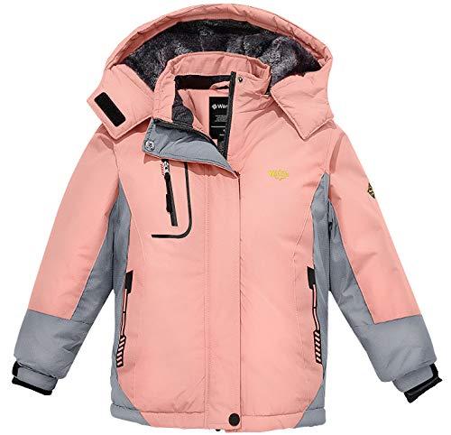 Wantdo Mädchen Berg Ski Jacke Warmer Winter Fleece Mantel Wasserdichter Atmungsaktive Regenmantel Outdoor Kapuzen Jacken Rosa 152-158