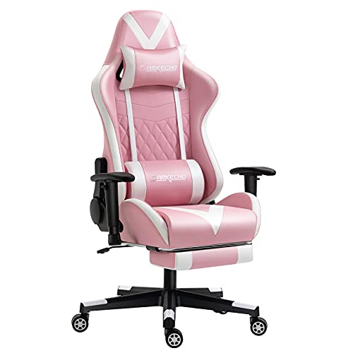 Darkecho Pink Gaming Chair with Footrest Massage Racing Office Computer Ergonomic Chair Leather Reclining Video Game Chair Adjustable Armrest High Back Gamer Chair with Headrest Lumbar Support Pink