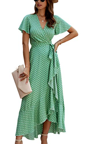 ECOWISH Women's Dresses Bohemian Wrap V Neck Short Sleeve Ethnic Style High Split Beach Maxi Dress 032 Green Small