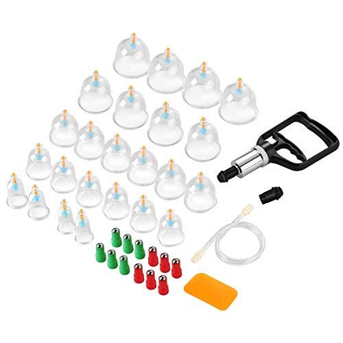 Schröpfen Set, 24 Stück Hochwertige medizinische Schröpfen mit Therapiemagneten, Schröpfen mit Vakuumpumpe und Ventil, Selbstbehandlung Massage für Rückenschmerzen, Cellulite
