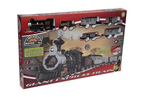 Motor & CO. - Trenino Elettrico con Rotaie - Treno Giant Express - Vero Treno Western con Luci e Suoni Realistici - Treno Giocattolo - Giochi per Bambini e Giocattoli - 33 Accessori Inclusi
